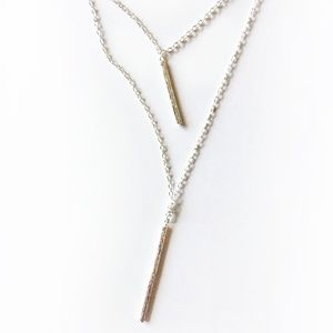 Gorjana Kiernan Silver Double Pendant Necklace